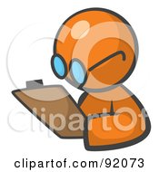 Royalty Free RF Clipart Illustration Of An Orange Man Avatar Writing Notes On A Clipboard by Leo Blanchette