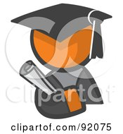 Royalty Free RF Clipart Illustration Of An Orange Man Avatar Graduate Holding A Diploma