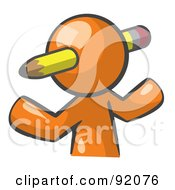 Royalty Free RF Clipart Illustration Of An Orange Man Avatar Writer With A Pencil Through His Head by Leo Blanchette