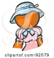 Royalty Free RF Clipart Illustration Of An Orange Woman Avatar In A Pink Dress And Blue Hat