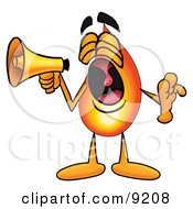 Flame Mascot Cartoon Character Screaming Into A Megaphone