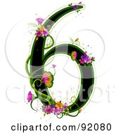 Black Number 6 Outlined In Green With Colorful Flowers And Butterflies