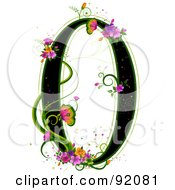 Black Number 0 Outlined In Green With Colorful Flowers And Butterflies