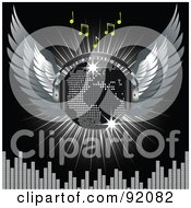 Royalty Free RF Clipart Illustration Of A Winged Silver Map Disco Ball With Headphones With Music Notes A Burst And A Equalizer Bars On Black by elaineitalia