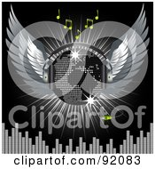 Royalty Free RF Clipart Illustration Of A World Map On A Winged Silver Disco Ball With Corded Headphones Over Music A Burst And Equalizer On Black