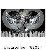 Royalty Free RF Clipart Illustration Of A Silver Map Disco Ball With Wings Headphones Music Notes Equalizer Bars And A Burst On Black by elaineitalia