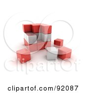Royalty Free RF Clipart Illustration Of A 3d Red And White Austria Puzzle Cube by stockillustrations