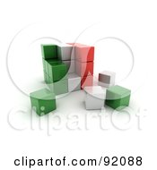 Royalty Free RF Clipart Illustration Of A 3d Green White And Red Italy Puzzle Cube by stockillustrations