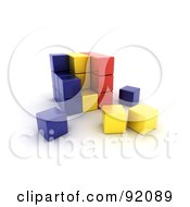 3d Blue Yellow And Red Romania Puzzle Cube