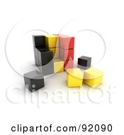Royalty Free RF Clipart Illustration Of A 3d Black Yellow And Red Belgium Puzzle Cube by stockillustrations