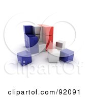 3d Blue White And Red France Puzzle Cube