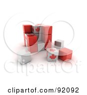 Royalty Free RF Clipart Illustration Of A 3d Red White And Maple Leaf Canada Puzzle Cube