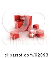 3d Red And White Switzerland Puzzle Cube