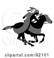 Royalty Free RF Clipart Illustration Of A Black Silhouetted Native American With A Bow And Arrows Riding On A Running Horse
