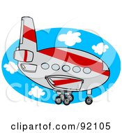 Royalty Free RF Clipart Illustration Of A Gray And Red Commercial Airliner Descending
