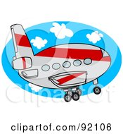 Royalty Free RF Clipart Illustration Of A Gray And Red Commercial Airliner Ascending