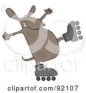 Royalty Free RF Clipart Illustration Of A Roller Skating Dog About To Fall