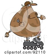 Royalty Free RF Clipart Illustration Of A Cow Roller Blading by djart