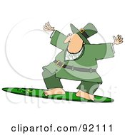 Sporty Leprechaun Surfing On A Shamrock Board