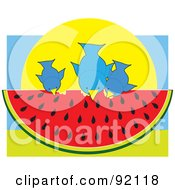 Three Blue Birds Sitting On And Eating A Slice Of Watermelon