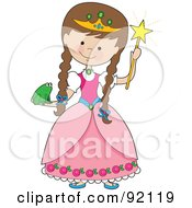Royalty Free RF Clipart Illustration Of A Brunette Girl Holding A Frog And Dressed In A Princess Costume