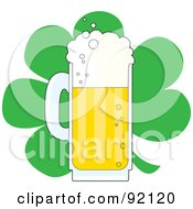 Royalty Free RF Clipart Illustration Of A Frothy Mug Of Beer In Front Of A Green St Patricks Day Clover by Maria Bell