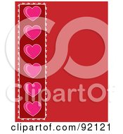 Red Love Background With A Pink Heart Border On The Left