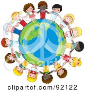 Royalty Free RF Clipart Illustration Of A Peace Globe Circled By Cute International Girls Holding Hands by Maria Bell