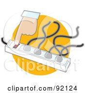 Royalty Free RF Clipart Illustration Of A Hand Turning On An Electric Outlet Surge Protector