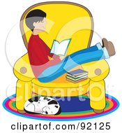 Dalmatian Dog Curled Up Below A Boy Reading A Book On A Chair