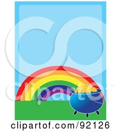 Rainbow And Pot Of Gold On Green Grass Over Blue Space