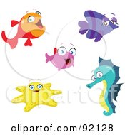 Royalty Free RF Clipart Illustration Of A Digital Collage Of Adorable Tropical Fish A Starfish And Seahorse by yayayoyo