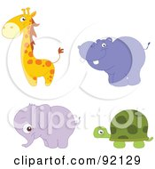 Royalty Free RF Clipart Illustration Of A Digital Collage Of An Adorable Giraffe Hippo Elephant And Tortoise