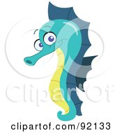 Royalty Free RF Clipart Illustration Of An Adorable Green Seahorse by yayayoyo