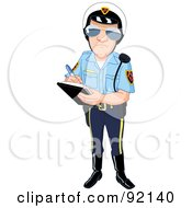 Royalty Free RF Clipart Illustration Of A Patrol Officer Issuing A Ticket by yayayoyo