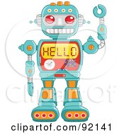 Royalty Free RF Clipart Illustration Of A Friendly Green Robot Waving And Reading Hello On His Chest by yayayoyo