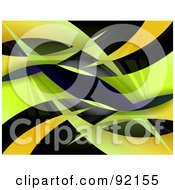 Royalty Free RF Clipart Illustration Of A Background Of Orange And Green Swooshes On Black