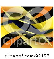 Royalty Free RF Clipart Illustration Of A Background Of Gradient Yellow And Orange Swooshes On Black