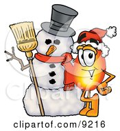 Flame Mascot Cartoon Character With A Snowman On Christmas