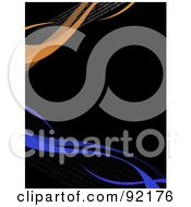 Royalty Free RF Clipart Illustration Of A Background Of Horizontal Orange And Blue Swooshes Over Black