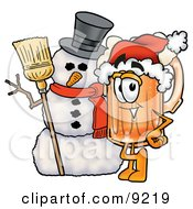 Clipart Picture Of A Beer Mug Mascot Cartoon Character With A Snowman On Christmas by Toons4Biz