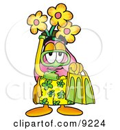 Vase Of Flowers Mascot Cartoon Character In Green And Yellow Snorkel Gear