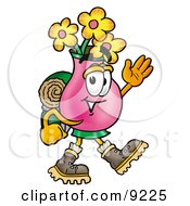 Clipart Picture Of A Vase Of Flowers Mascot Cartoon Character Hiking And Carrying A Backpack