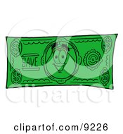 Vase Of Flowers Mascot Cartoon Character On A Dollar Bill