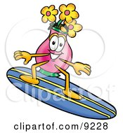 Clipart Picture Of A Vase Of Flowers Mascot Cartoon Character Surfing On A Blue And Yellow Surfboard by Toons4Biz
