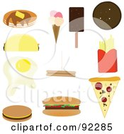 Digital Collage Of Pancakes Taco Egg Burgers Ice Cream Fries And Pizza