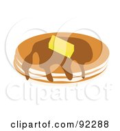 Royalty Free RF Clipart Illustration Of Three Pancakes With Butter And Syrup