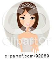 Royalty Free RF Clipart Illustration Of A Brunette Caucasian Bride Presenting Her Wedding Ring