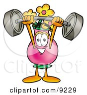 Vase Of Flowers Mascot Cartoon Character Holding A Heavy Barbell Above His Head
