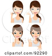 Royalty Free RF Clipart Illustration Of A Digital Collage Of A Brunette Caucasian Woman Applying False Lashes Mascara Lipstick And Nail Polish